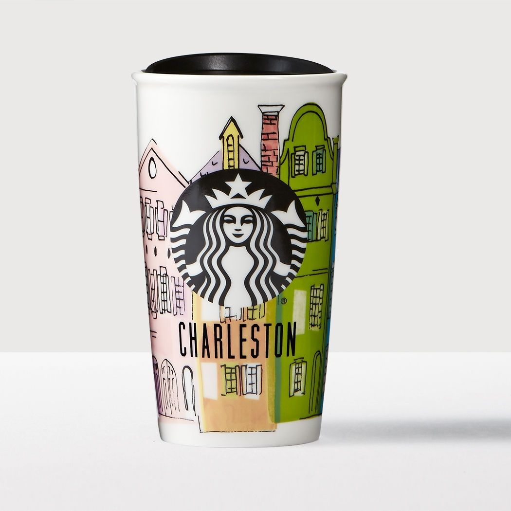 Charleston Double Wall Traveler A Double Walled Ceramic Mug Featuring Colorful Houses Inspired By Charleston S Iconic Rain Mugs Starbucks Store Starbucks Mugs