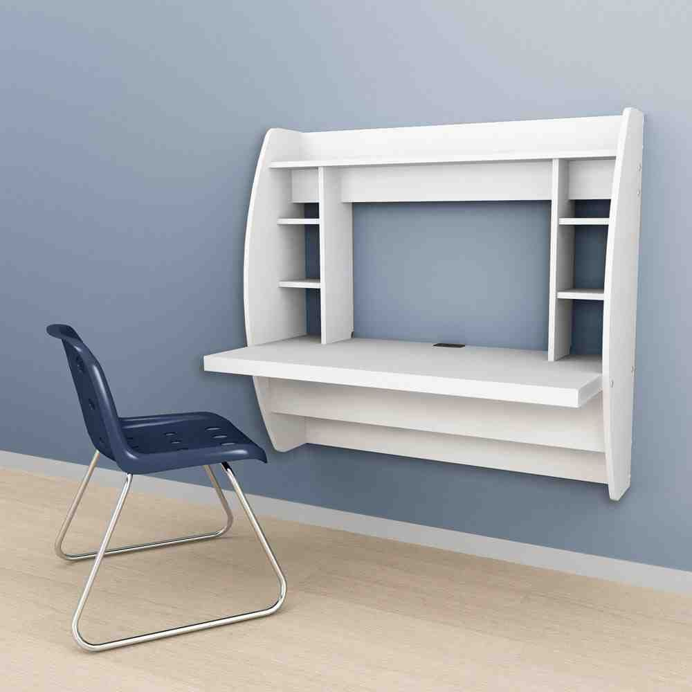 Wall Mounted Computer Table Floating Desk Desk Storage White Floating Desk