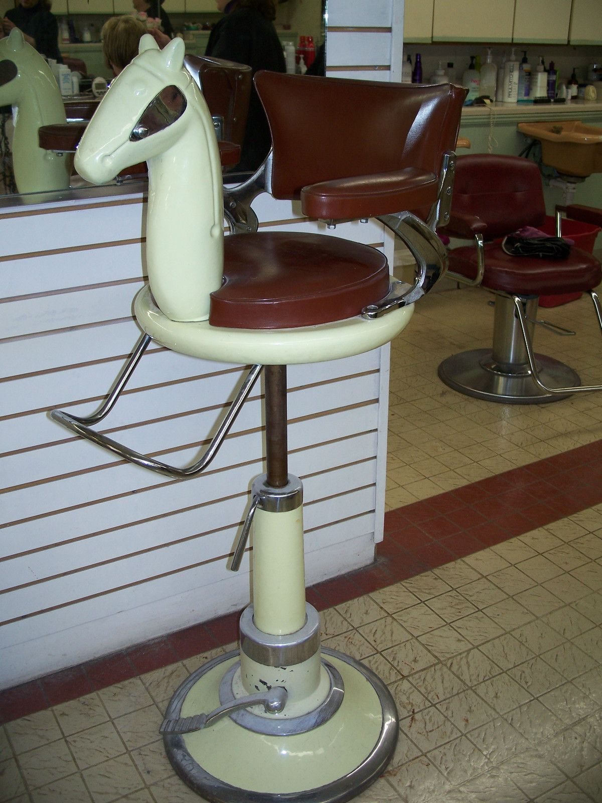 Barber shop pole distressed wall decal vintage style wall decor ebay - Vintage Child S Horse Head Barber Chair 1950 S