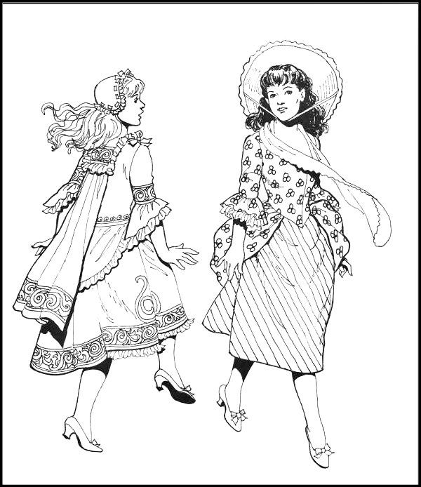 Old Fashioned Girls Coloring Page Fashion Coloring Book