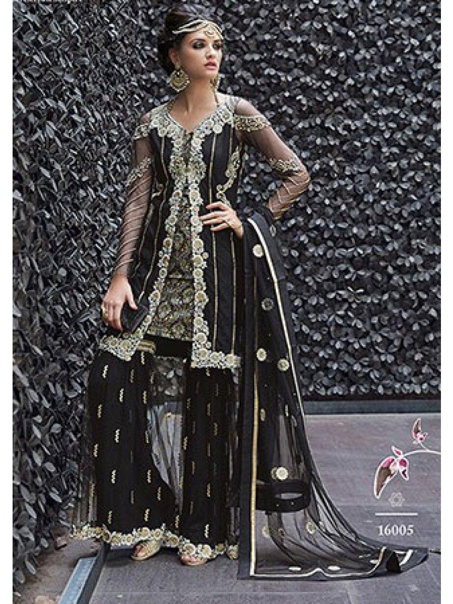 pakistani black gharara dress online shopping india mumbai us uk ...