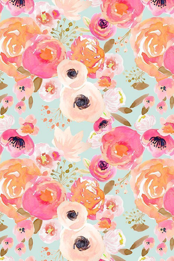 Blush Fls Blue By Indybloomdesign Hand Painted On Fabric Wallpaper And Gift Wrap Bold Flowers In Pink Peach Orange A