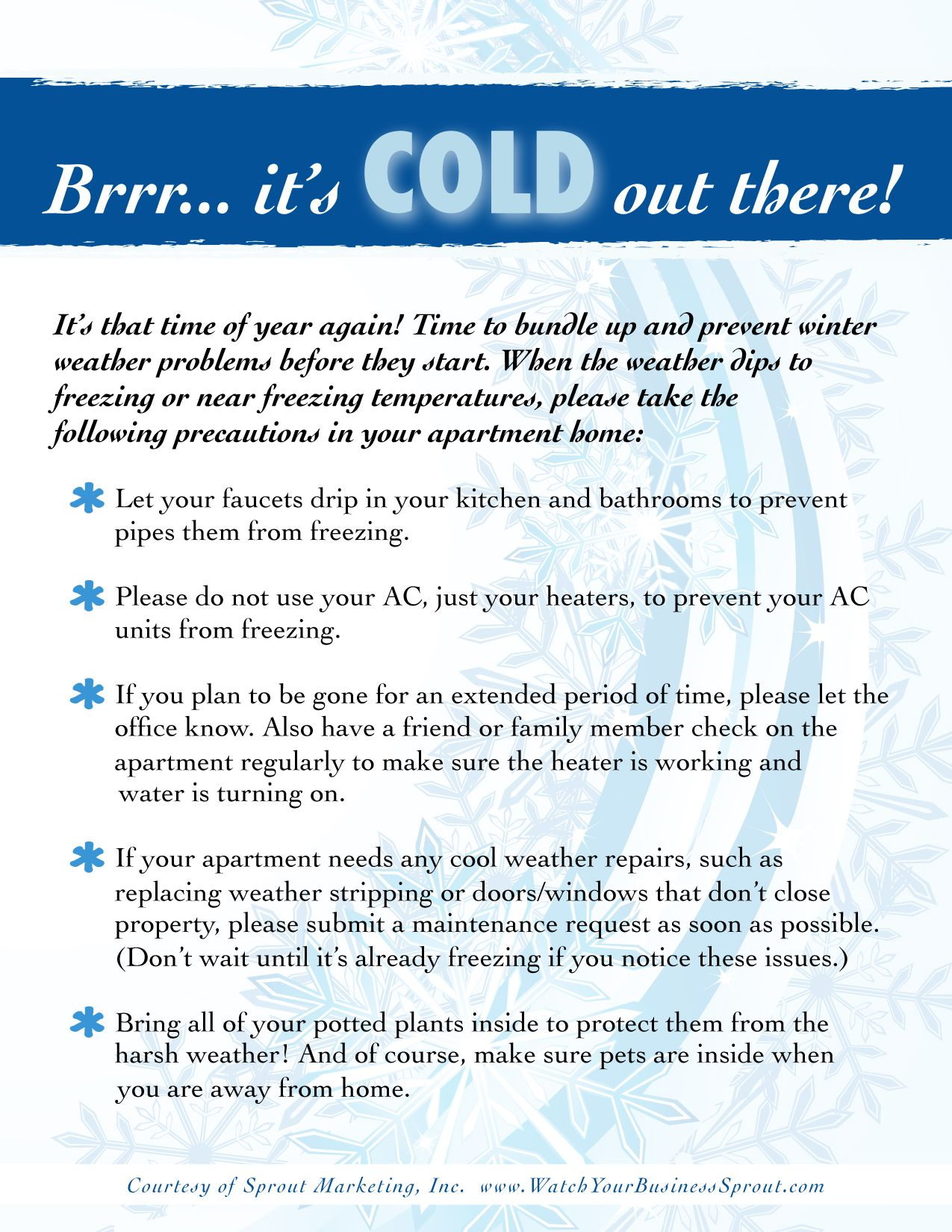 Freeze Prevention Tips For The Winter Season From Sprout Marketing Sproutmarketing Freebie Printable