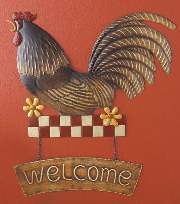 Country rooster welcome sign wall art from collections etc