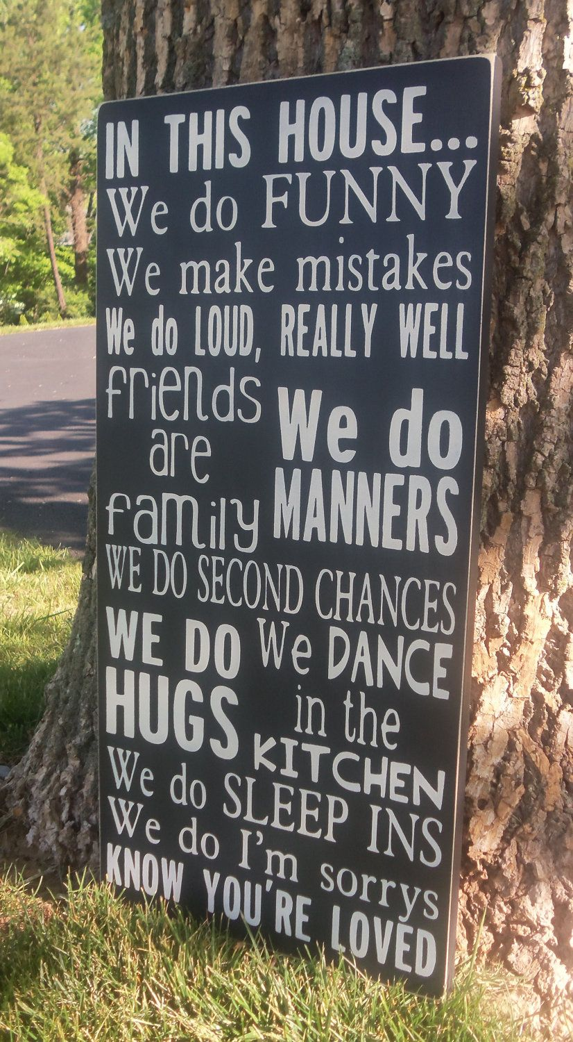 In memory of family wedding sign we know you by signstoliveby - 24 In This House Family Rules Wood Subway Sign Friends Are