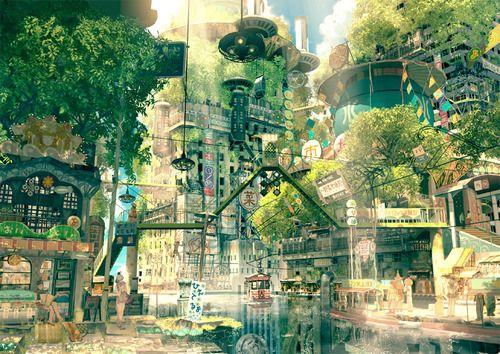 Pin By Lillian Marie Malter On Dreamsville Fantasy Landscape Anime Scenery City Art
