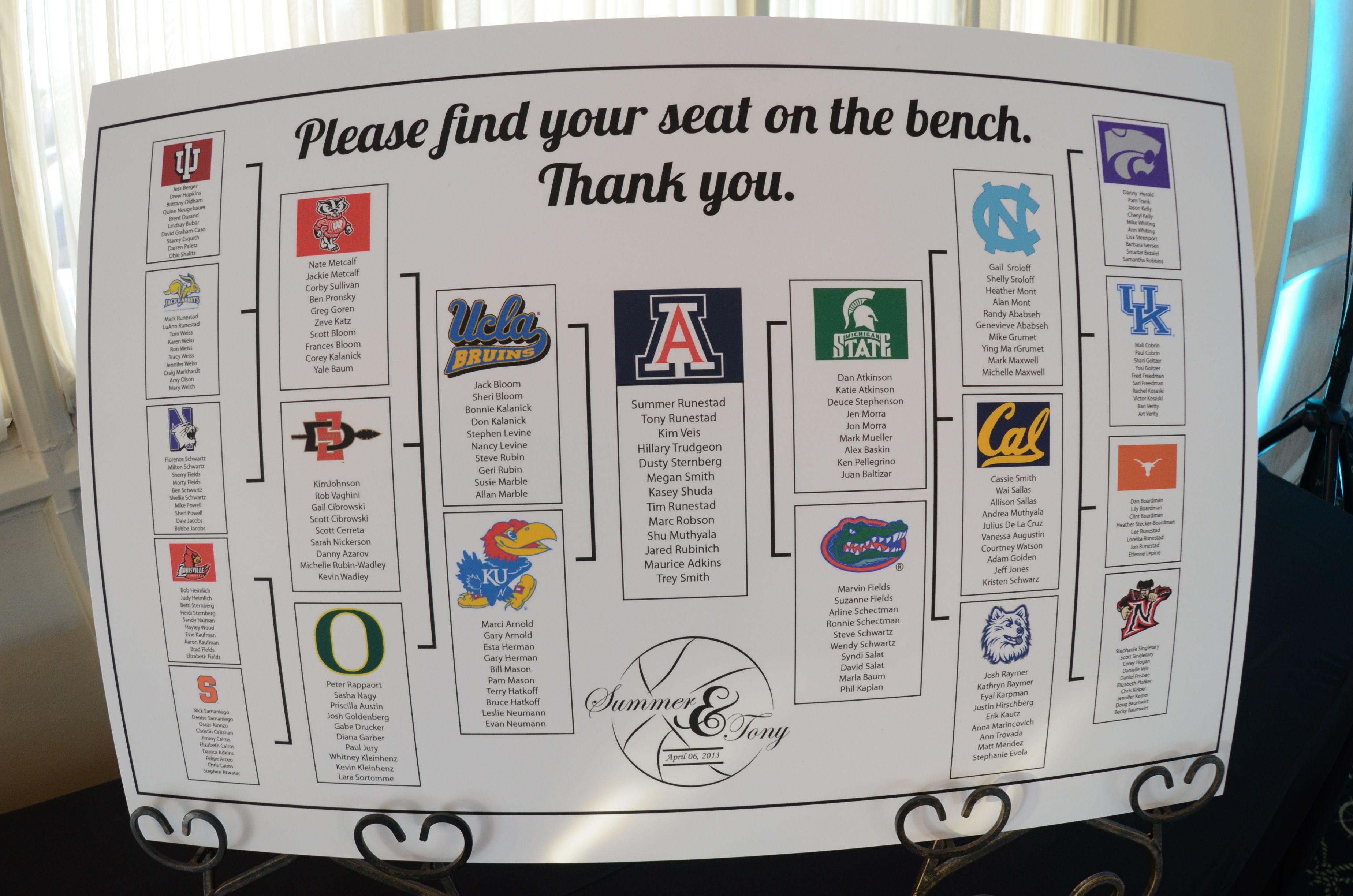 This Was Our Seating Chart For The Wedding Just Like Tournament