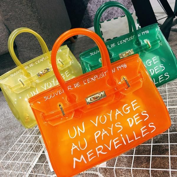 Clear PVC Candy Color Top-handle Handbags Women Jelly Bags for Women 2019  Letters Large Capacity Shoulder Messenger Bags Chic cb94f88f49678