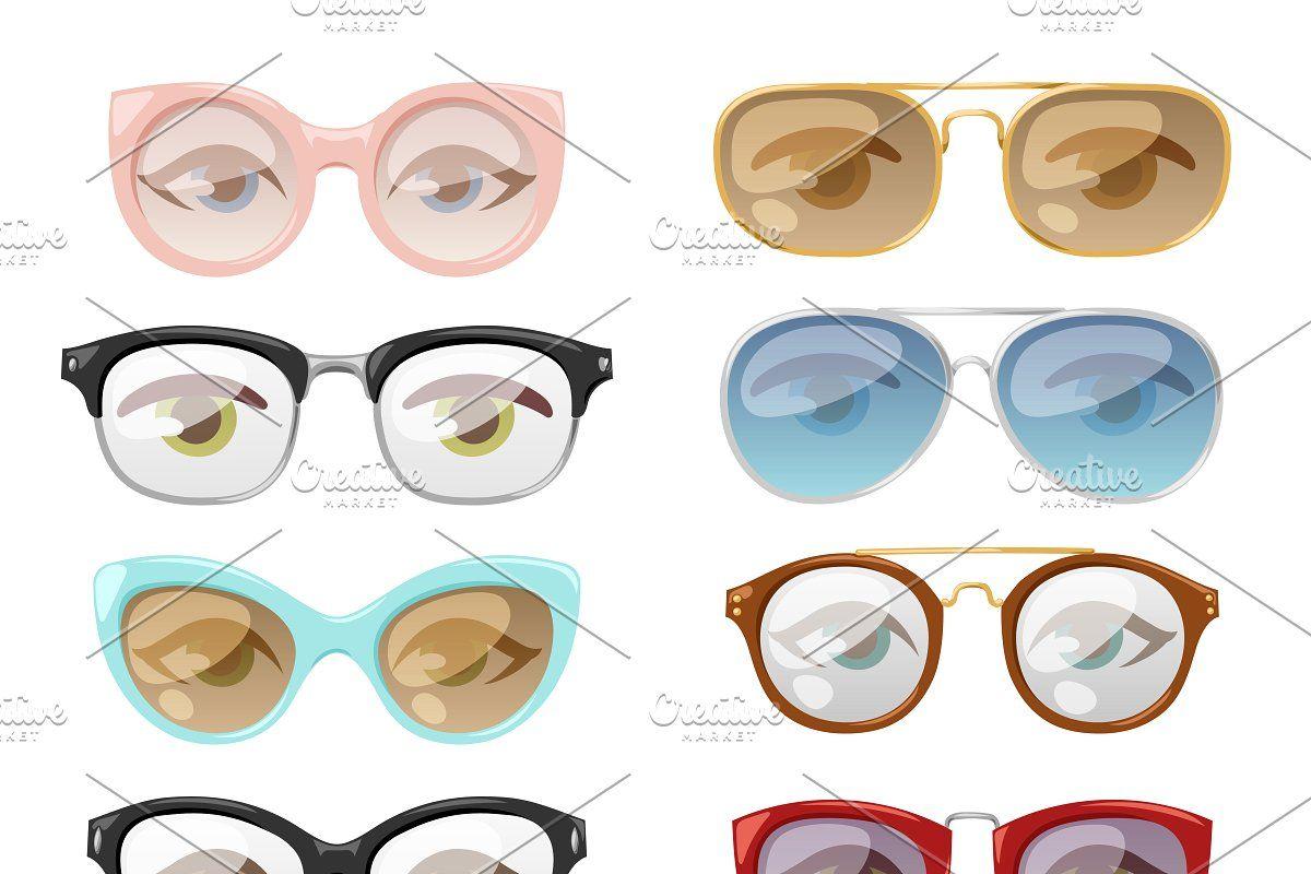 Glasses human eye vector set in 2020 Glasses, Human eye