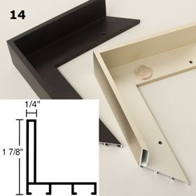 Our Nielsen® Canvas Floater 14 – a high quality aluminum metal floater frame for mounting stretched canvas. It comes in Matte Black and German Silver.