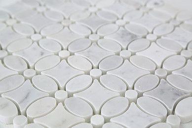 Bianco Carrara Marble Waterjet Flower Pattern Mosaic Tile Marble Bathroom Bathroom Floor Tiles Tile Backsplash Bathroom