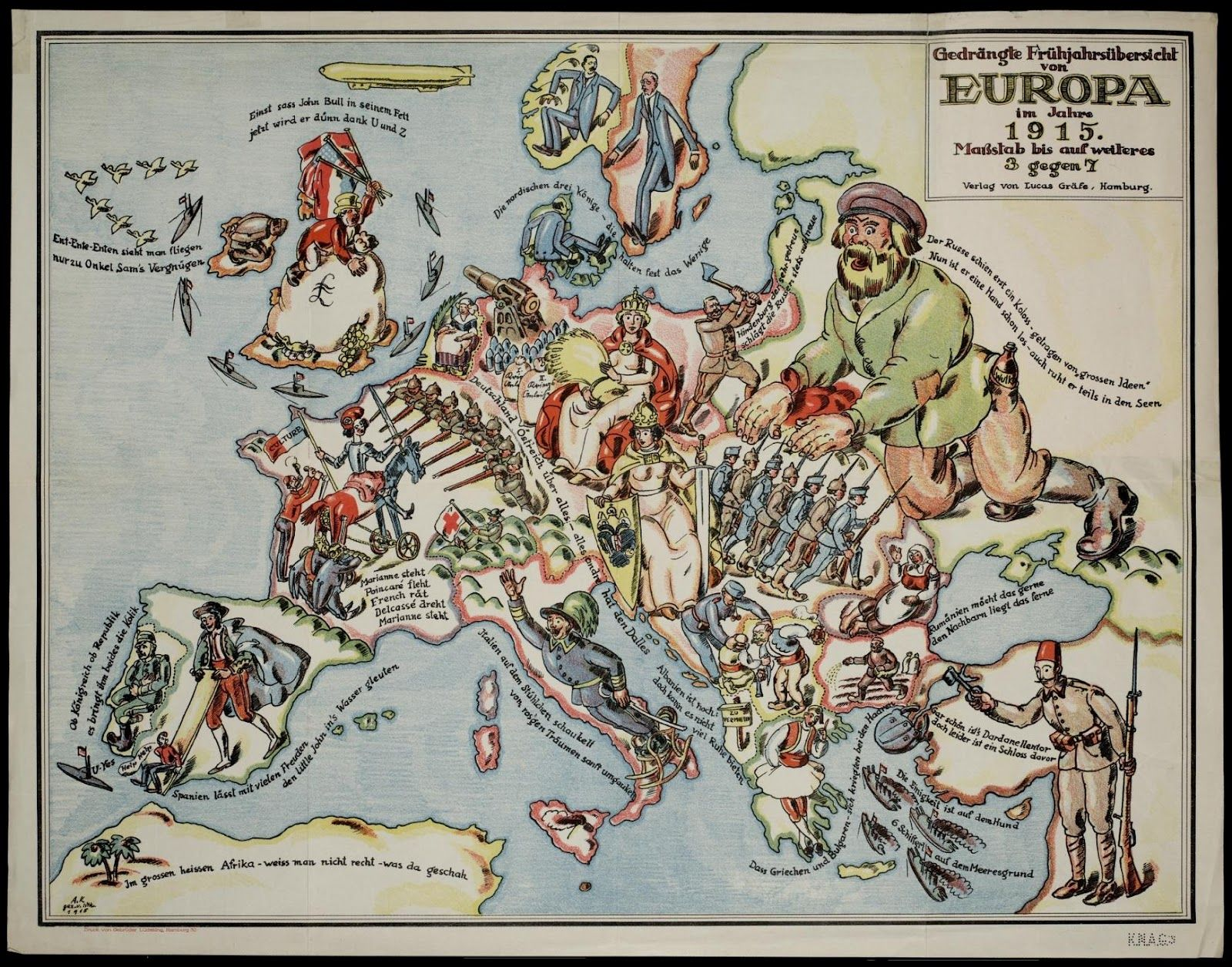 Colorful Comical Map of Europe in 1897