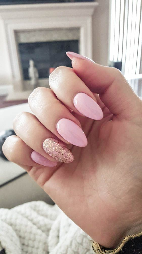 Baby Pink Nails Gold Glitter Nails Gold Oval Acrylic Nails Oval Acrylic Nails Baby Pink And Gold Glit Oval Acrylic Nails Baby Pink Nails Pink Acrylic Nails