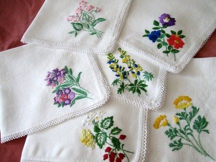 Hand Embroidery Patterns For Napkins Vintage Hand Embroidered