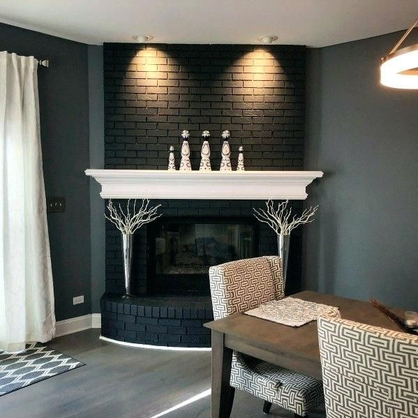 Painted Accent Wall Behind Corner Fireplace: Painted Fireplace Ideas Black Corner Painted Fireplace