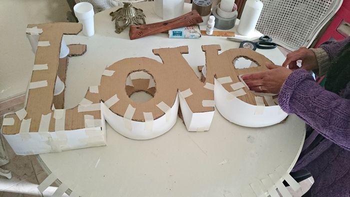 Diy para hacer las letras de love para tu boda - Como hacer letras decorativas ...