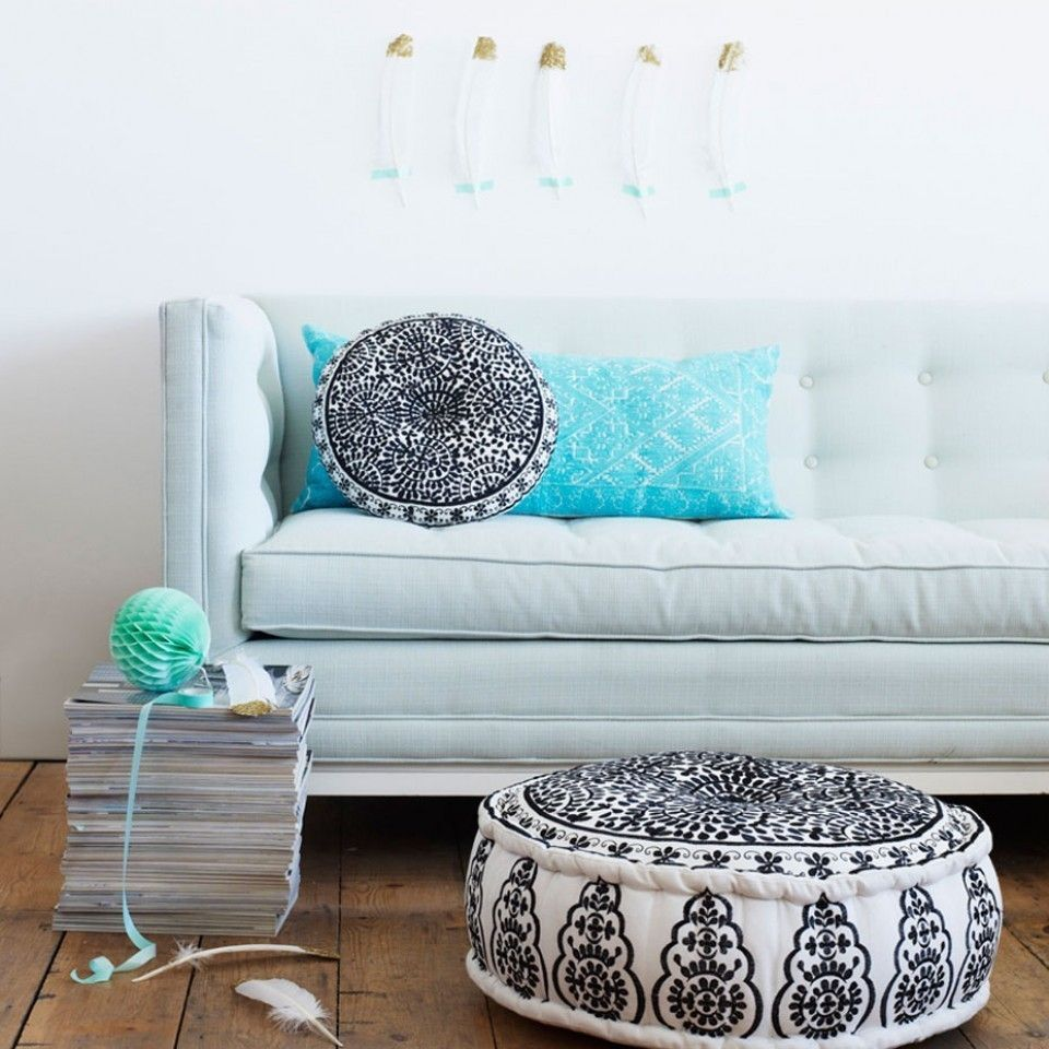Perfect Nomad Linen Pouffe: This Gorgeous Nomad Embroidered Linen Pouffe In Striking  Black On White Linen