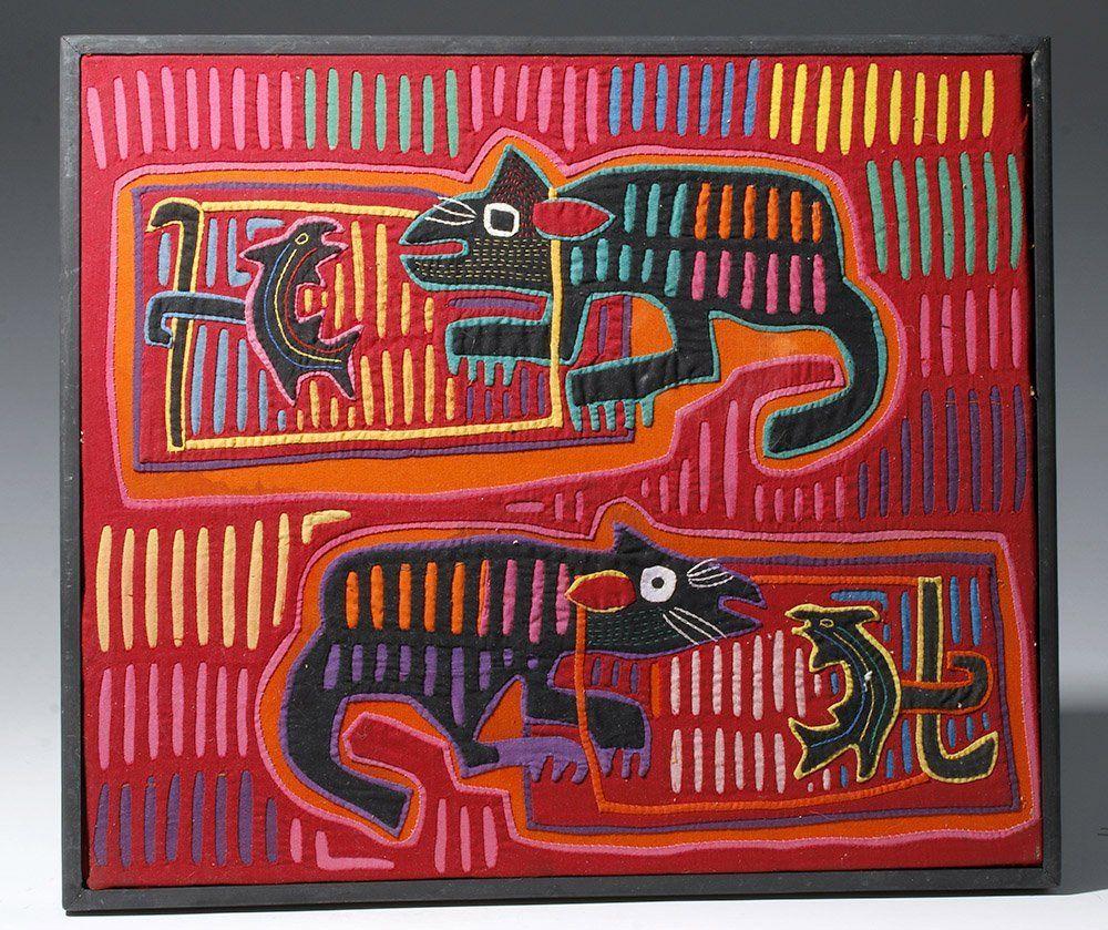 Framed 1950s Panamanian Mola - Lizards & Fish | Color/Design ...
