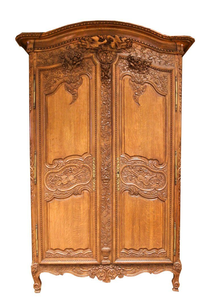 Louis Xv Style Carved Oak Armoire Sold 550 Armoire Normande