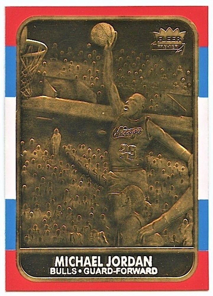 1986 michael jordan fleer rookie 23kt gold card reprint