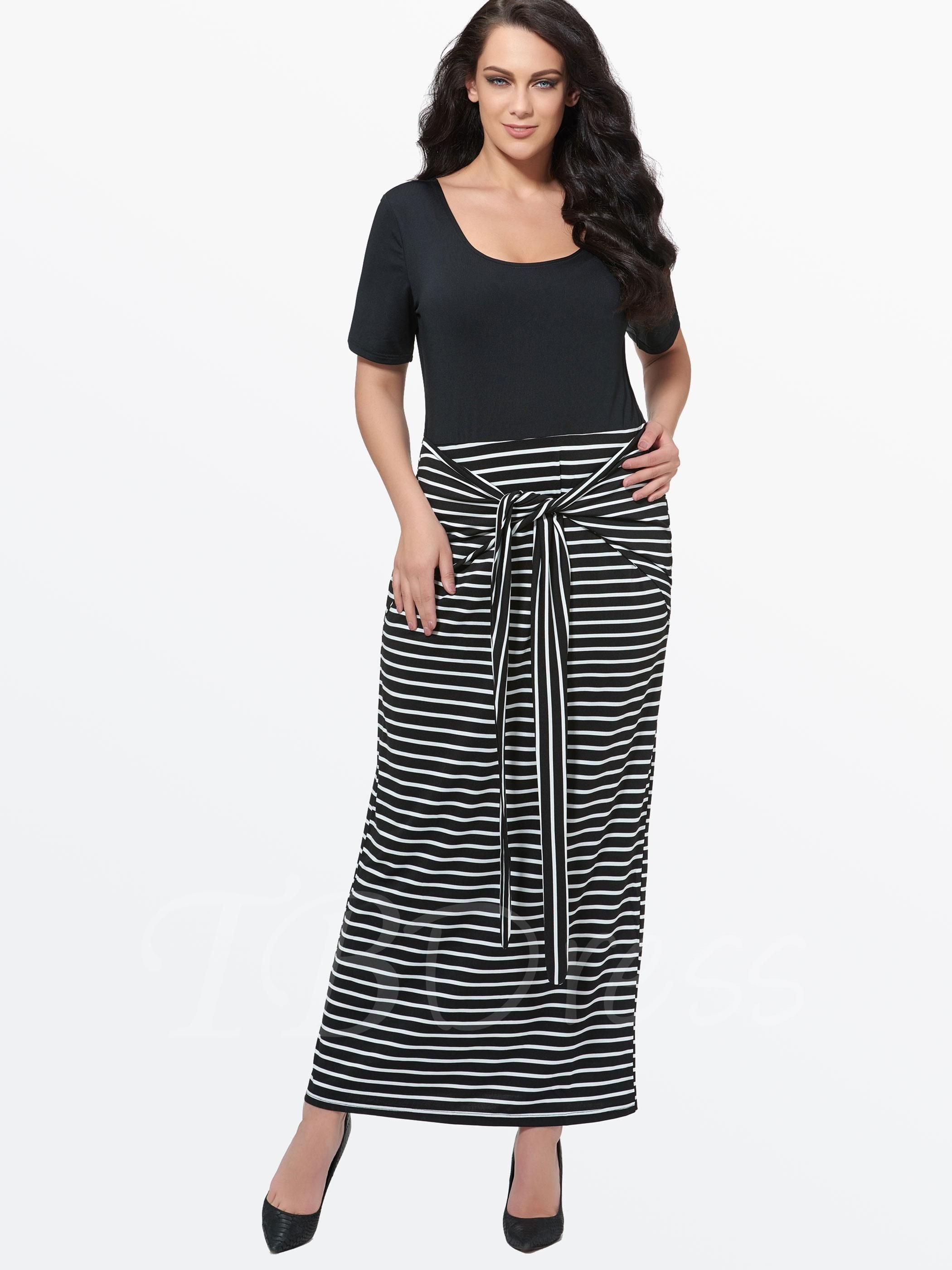 Tbdress tbdress plus size stripes womens maxi dress plus size