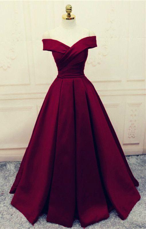 Elegant 2018 Prom Dress Off Shoulder Satin A-line Burgundy Cheap Evening Dresses