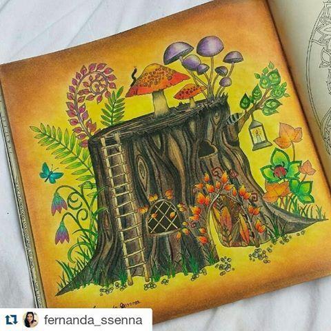 Colorido super lindo da  @fernanda_ssenna with @repostapp  #johannabasford #desenhoscolorir  #florestaencantada   #enchantedforest
