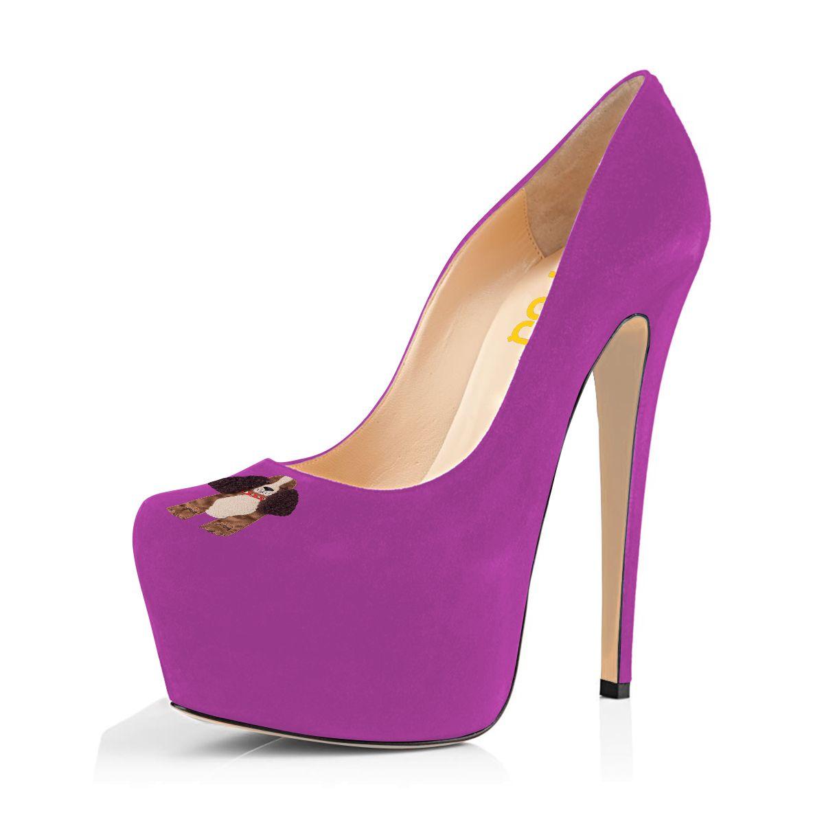 Women s Orchid Suede Doggie Printed Platform Heels Stiletto Pumps   elegantshoegirl  shoes  ankle  boots  flats  fashions  womens 2192bed72a40