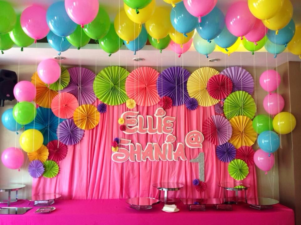 Birthday party backdrop ellie 39 s 1st birthday party ideas for Backdrop decoration for birthday