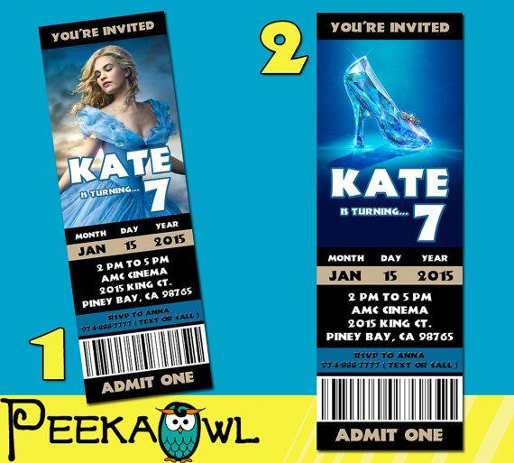 Printable Cinderella 2015 Movie Invitation Ticket by PeekaOwl - movie ticket invitations printable free