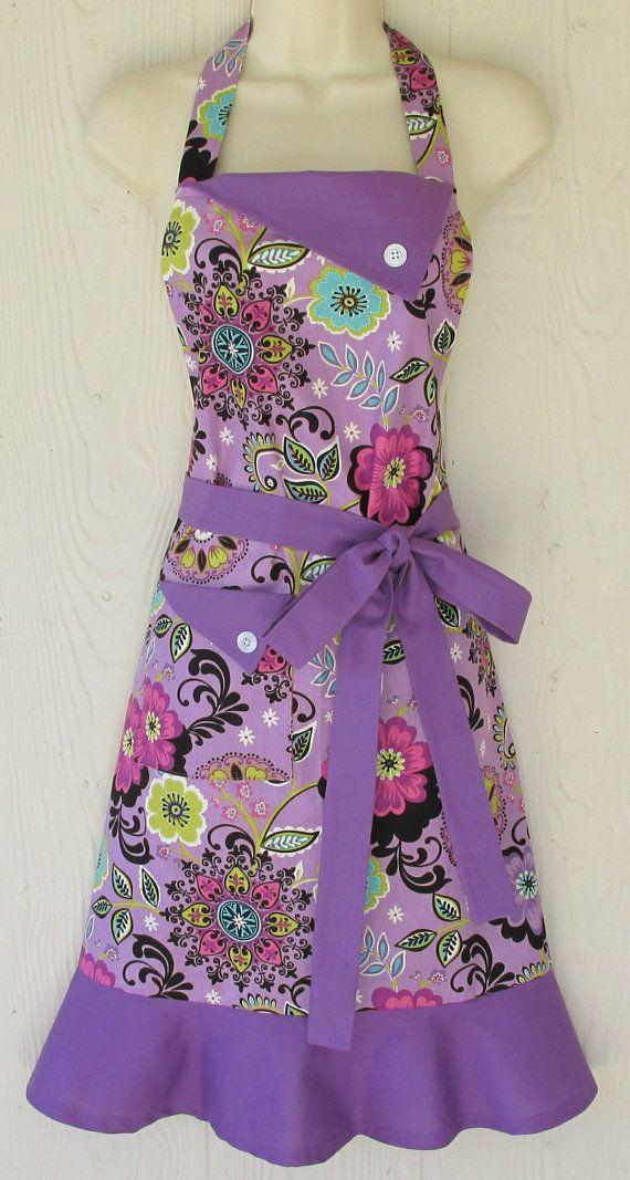 Women's Floral Apron , Retro Style Apron, Full Apron , Orchid Apron, Purple Apron, Flowers , KitschNStyle
