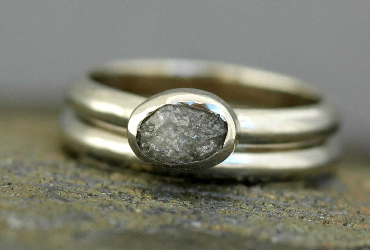 Conflict Free Rough Diamond Engagement and Wedding Ring
