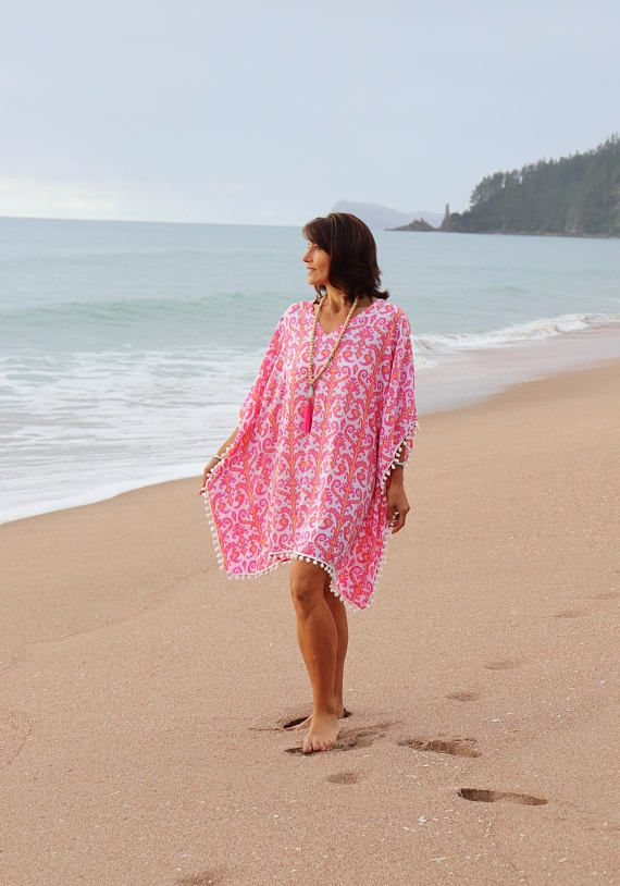 0ad39ae47328d Pink Beach Kaftan cover up Caftan dress short with pom poms