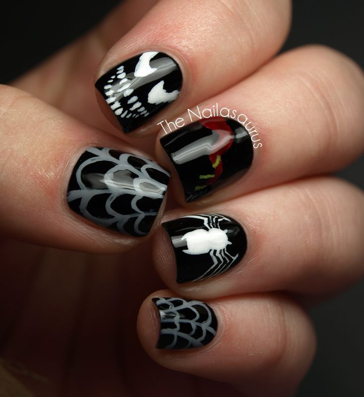 Venom Nail Art by The Nailasaurus. Aaaaagh! Creepycreepycreepy! And I *love* them!