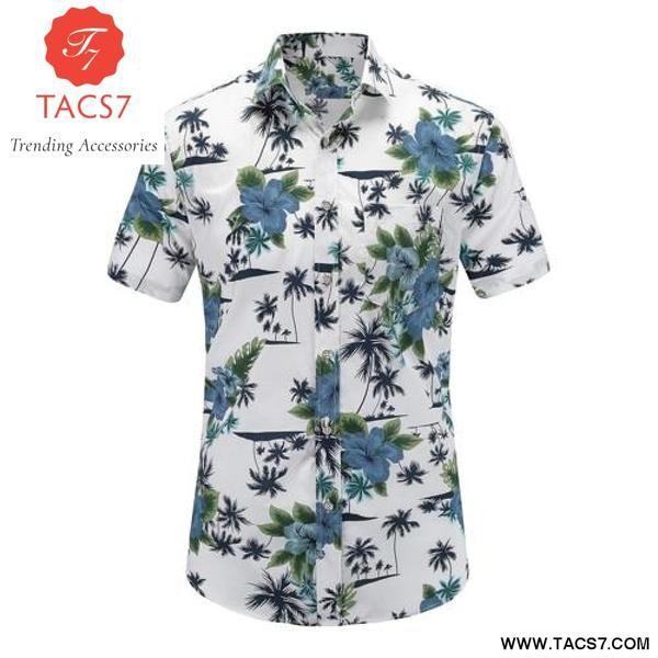 3a1acc822 New Summer Mens Short Sleeve Beach Cotton Hawaiian Shirts – Trending  Accessories