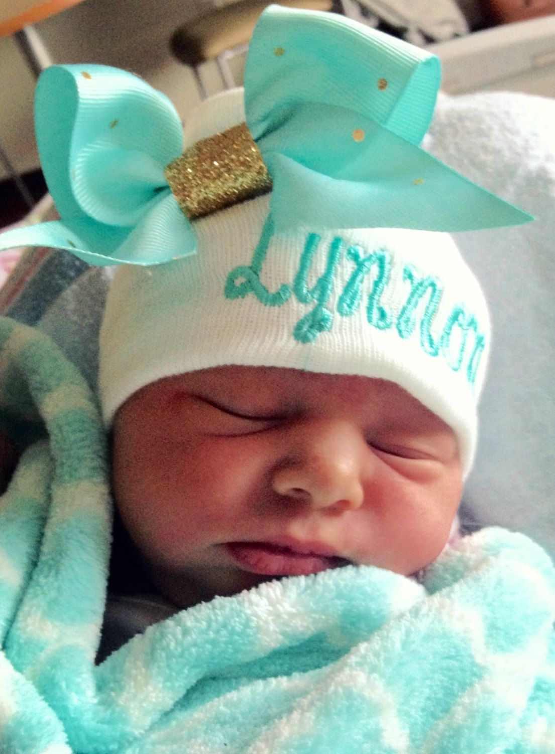 80bf7e5544f Sweet Hospital Newborn Hat Personalized newborn hat with handmade bow with  Happy Days Or Princess Script Font and Mint with gold Polka Dot Bow
