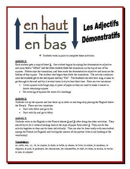 French Demonstrative Adjectives Activities (Speak, Read, Listen ...