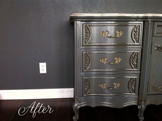 Champagne Metallic Paint By Modern Masters Helps Detail Bedroom Furniture  Set Makeover By Love Paper Paint
