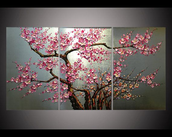 Hand-painted home decor Peachy pink plum blossom flower tree hang ...