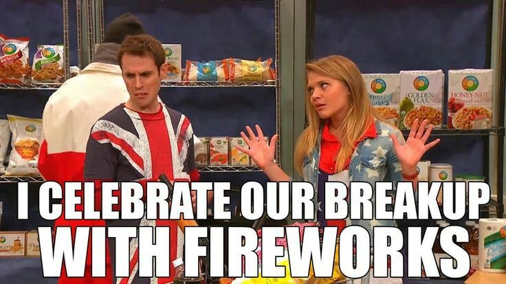 America (Mallory) vs. Britain (Matt): I didn't even think about it until now...the 4th of July.
