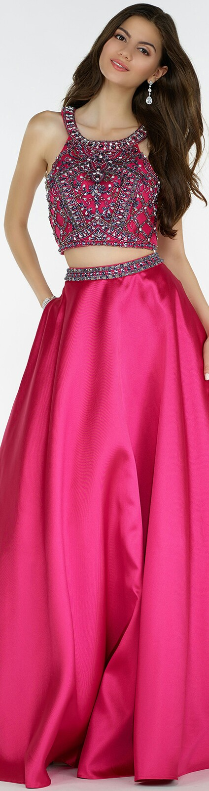 ALYCE PARIS ¤ In Fuchsia Flowing Satin Skirt has Pockets & Beaded ...