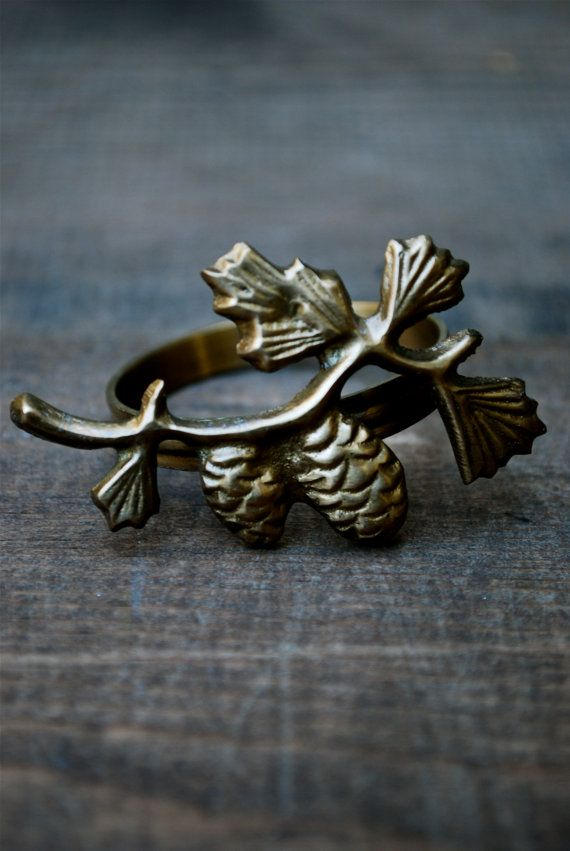 Set Of Six Metal Pinecone Napkin Rings By Chickenlotto On