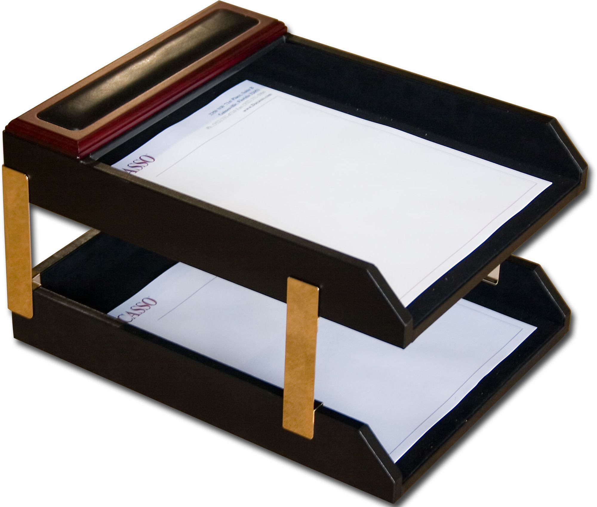 Rosewood and Leather Double Letter Tray