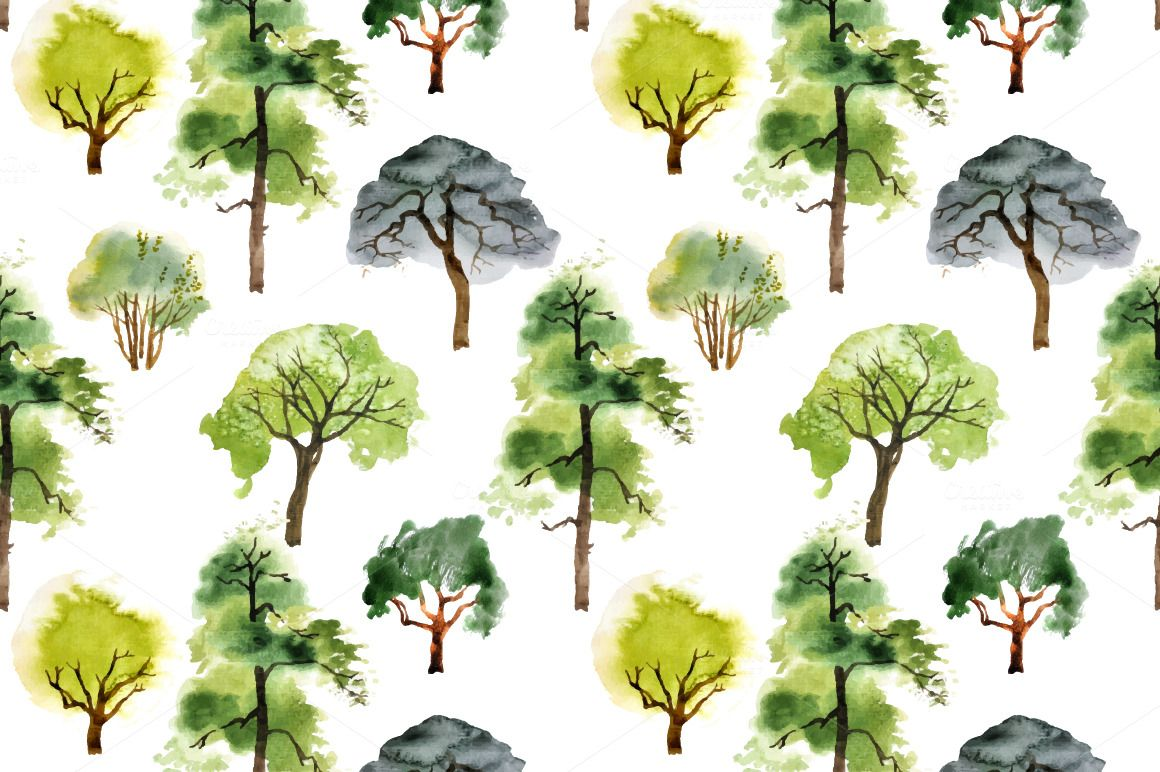 Watercolor trees and patterns by mart_m on Creative Market