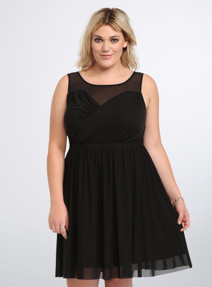 TORRID NWT Women Mesh Faux Surplice Skater Black Dress Plus size 1 1XL 1009   Torrid  SURPLICESKATER 5f6ccf09b