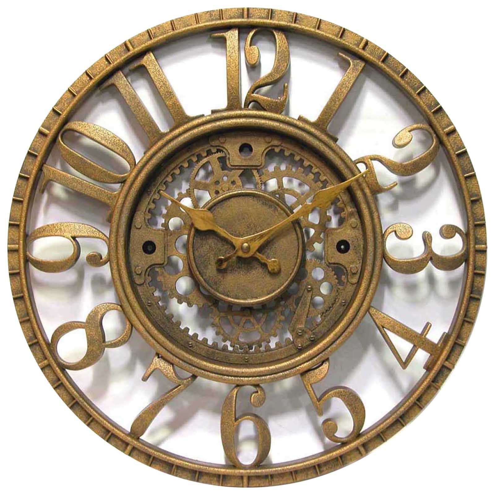 Wonderful Gears Wall Clock Time Open Dial Gold Finish Office Home Decor Antique Style