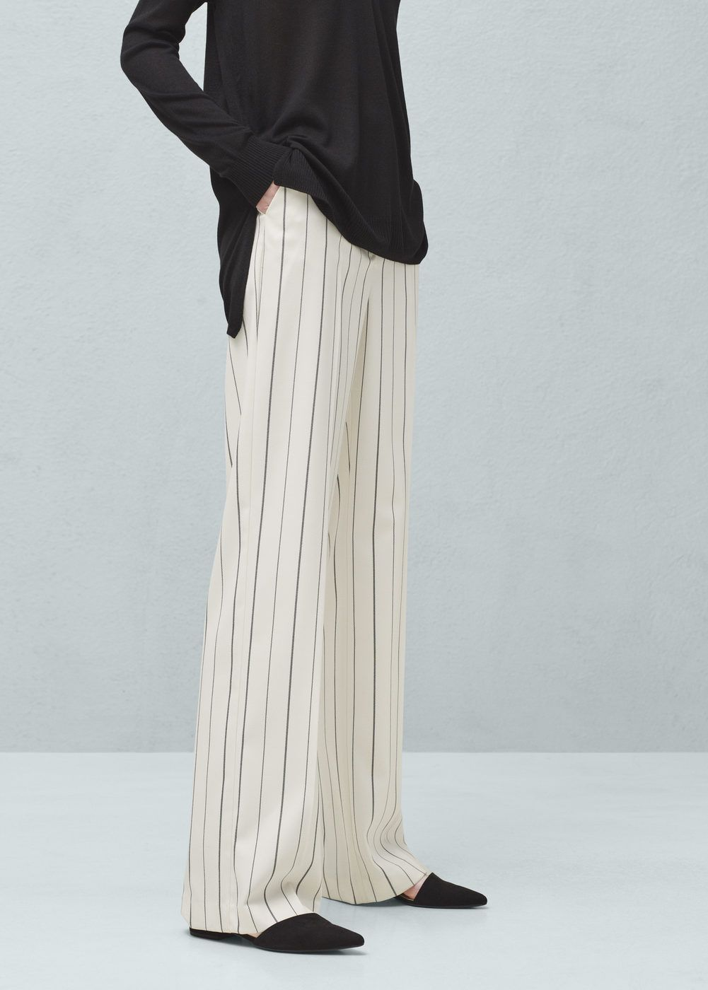 c4069f9683 Straight striped trousers in dark navy  79.99  mango