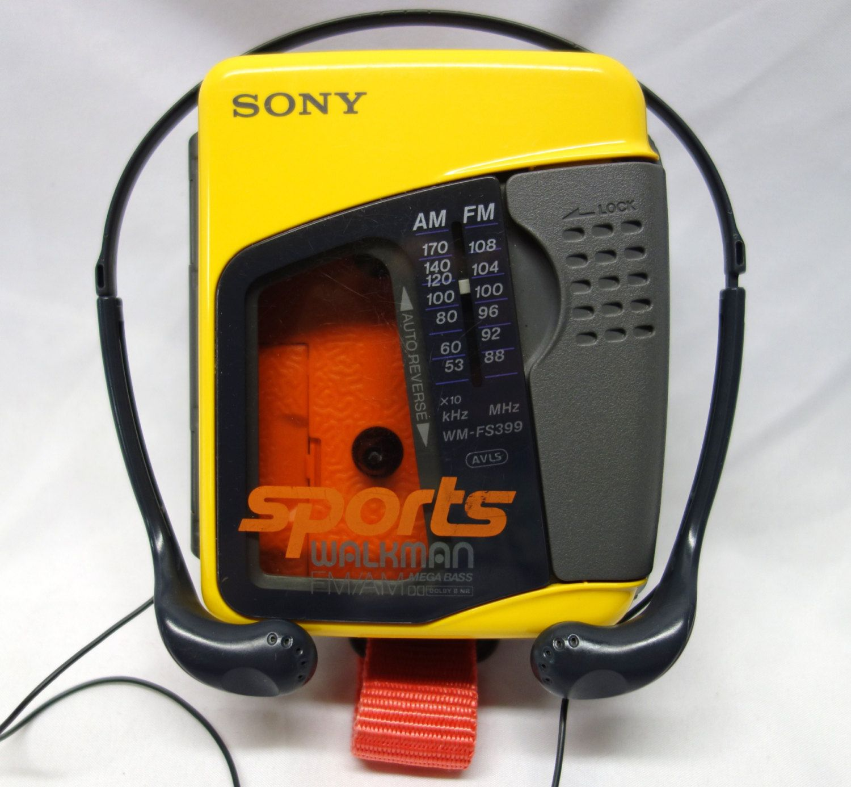 Vintage Sony WMFS399 Sports Walkman Yellow FM/AM Stereo