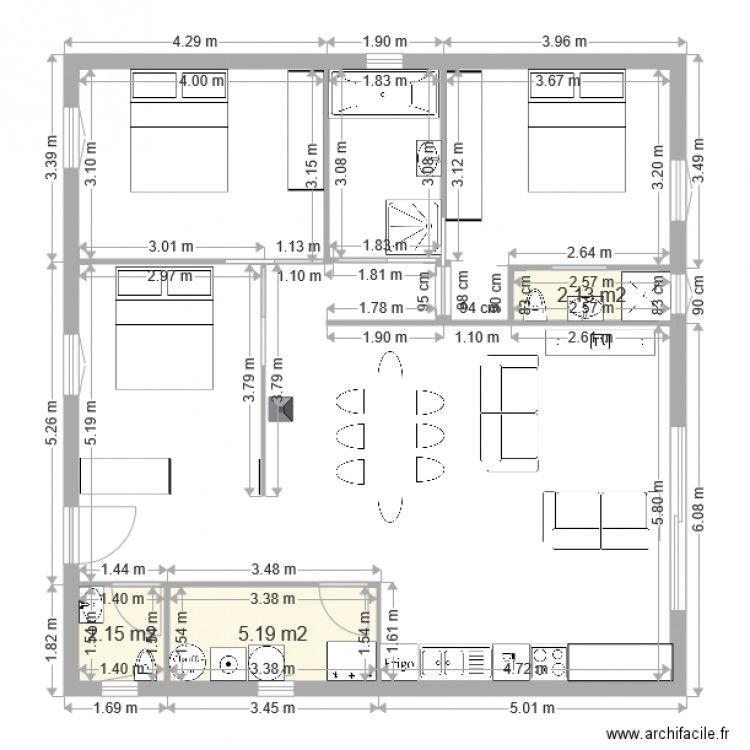plan maison carree plein pied 100m2 en 2019