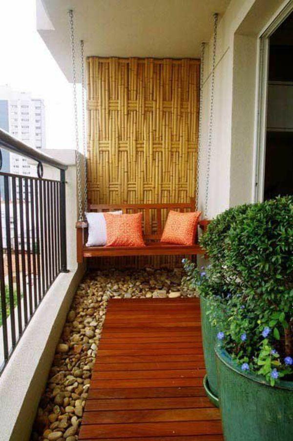 Terrassenbelag Holz Dielen Kieselsteine Sichtschutz Bambus Small